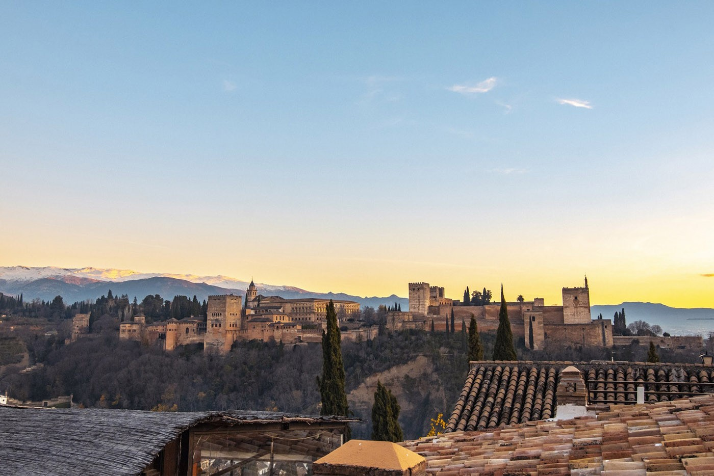 Vue de l'Alhambra depuis le Mirador de San Nicolas, Grenade, Andalousie